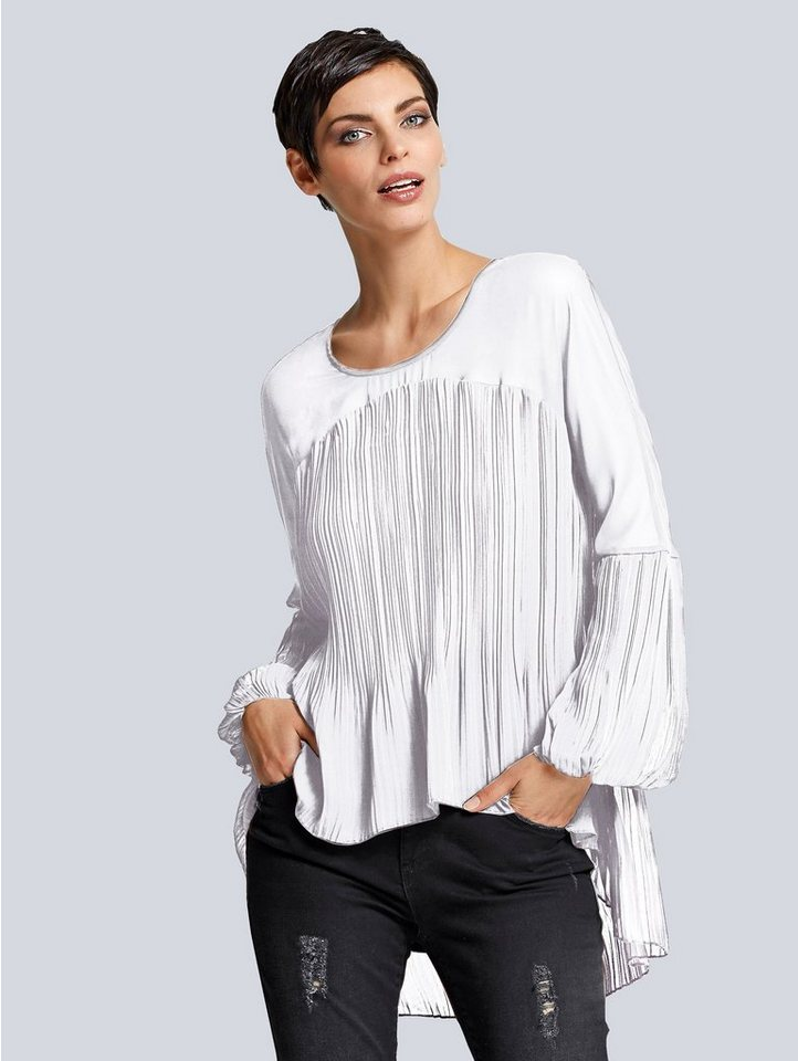 Alba Moda Plissée-Bluse in weiß