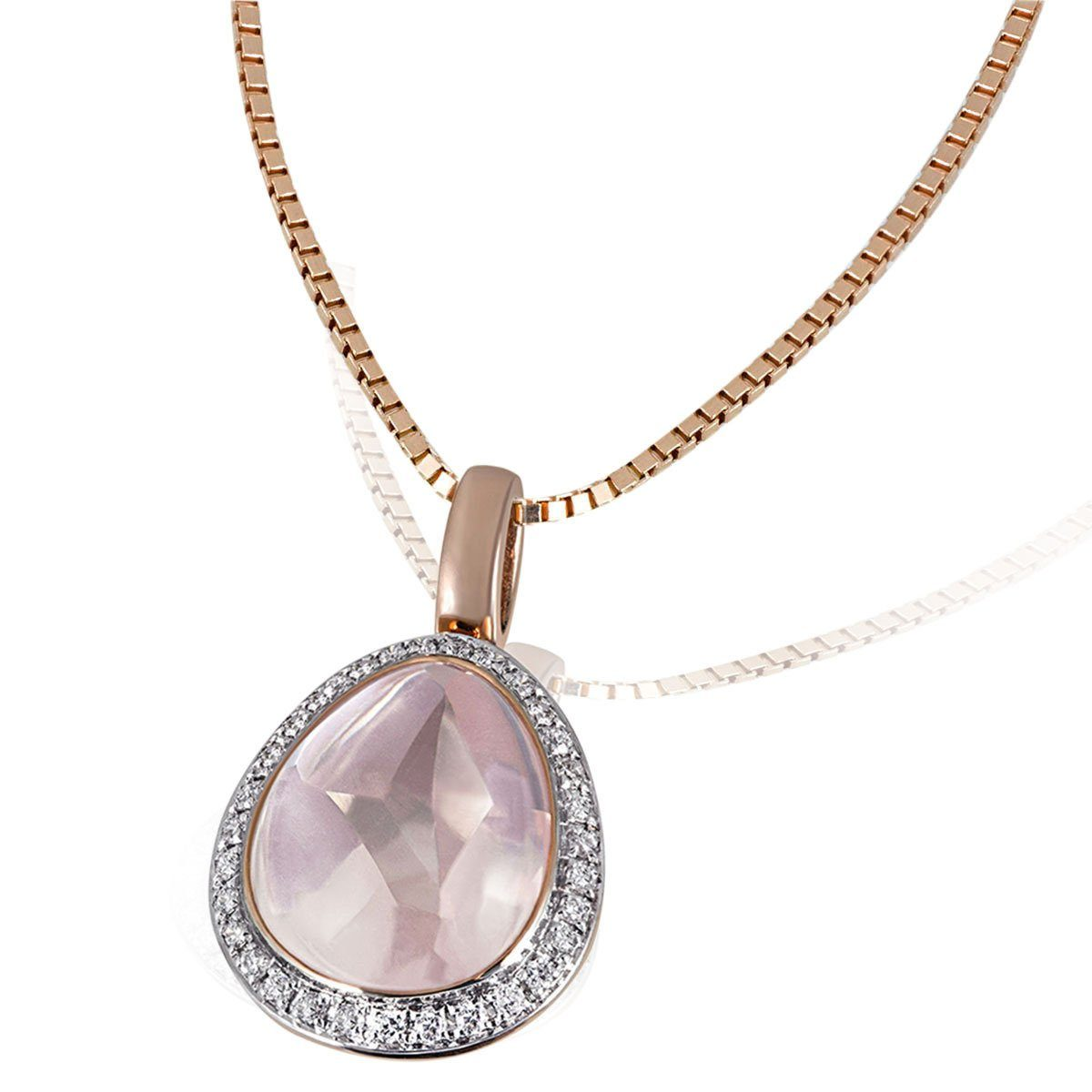 goldmaid Collier 585/- Rotgold 1 Rosenquarz 31 Diamanten 0,16 ct.