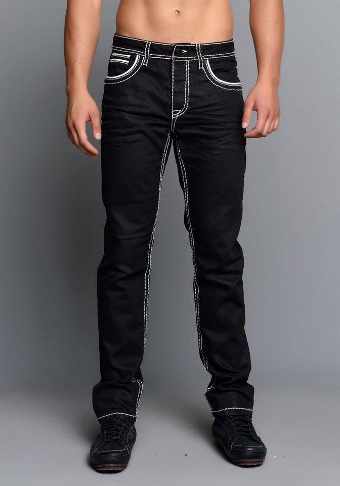 Cipo & Baxx Jeans Hose in SCHWARZ / WEISS