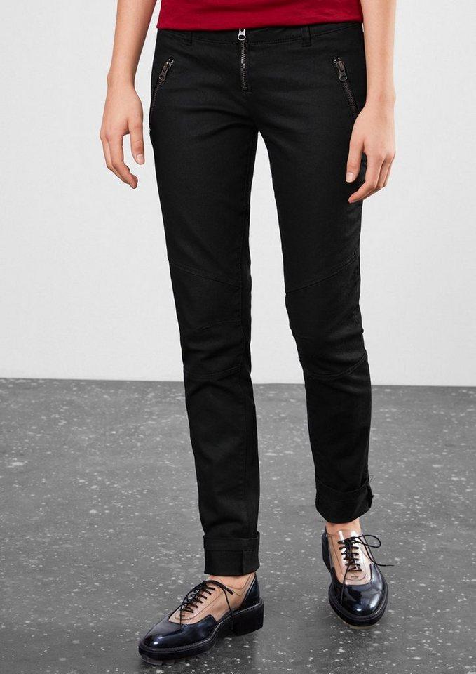 Q/S designed by Slim: Hose mit Zipp-Details in black