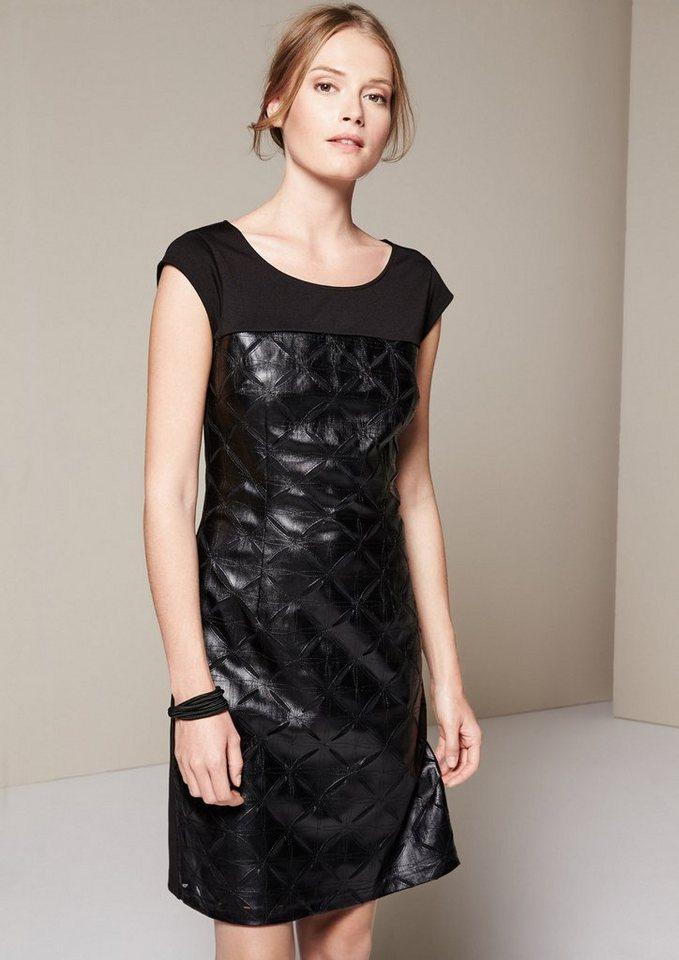 COMMA Glamouröses Fake-Leder Abendkleid mit raffiniertem Muster in black