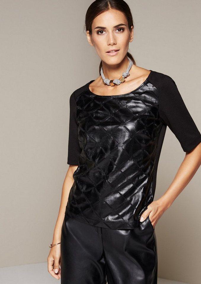 COMMA Glamouröses Kurzarmshirt mit elegantem Muster aus Fake-Leder in black