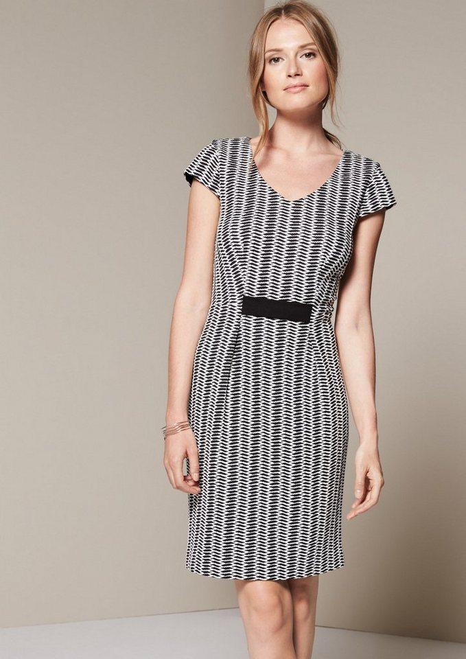COMMA Edles Kleid mit fein gestaltetem Jacquardmuster in black AOP