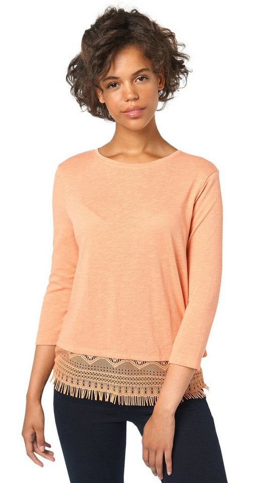TOM TAILOR DENIM T-Shirt »2-in-1 Shirt mit Spitzen-Underlayer« in sunset rose