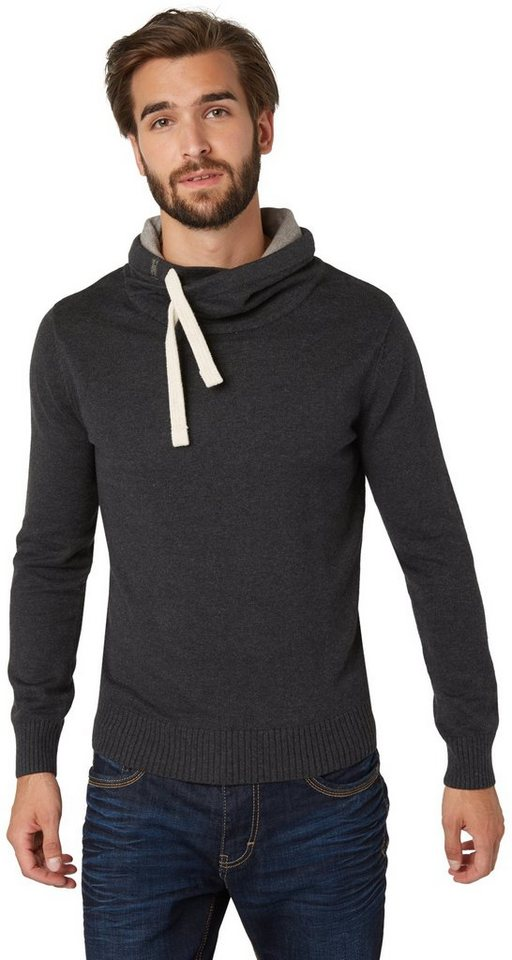 TOM TAILOR Pullover »Pullover mit weitem Rollkragen« in black grey melange