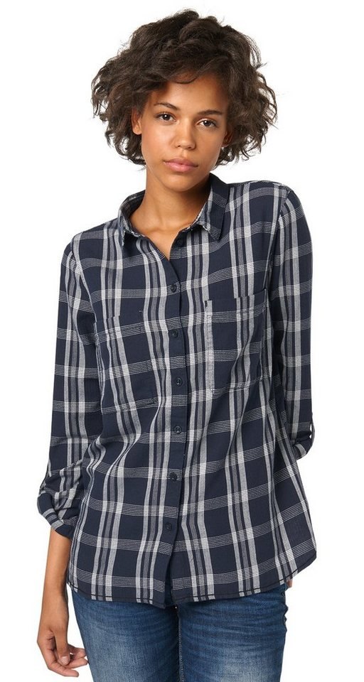 TOM TAILOR DENIM Bluse »cosy flannel check blouse« in sky captain blue