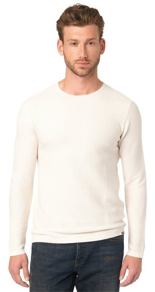 TOM TAILOR Pullover »structured sweater« in casual white melange