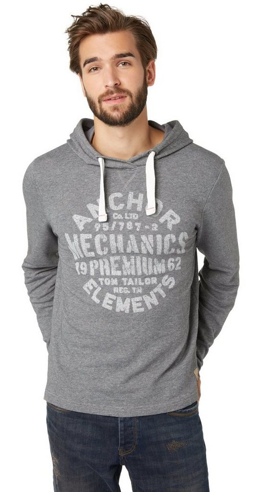 TOM TAILOR Sweatshirt »Hoodie mit Print« in rock mass grey melan