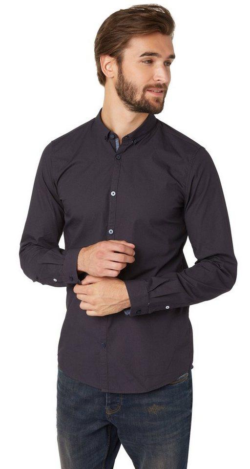 TOM TAILOR Hemd »gemustertes Button-Down-Hemd« in navy