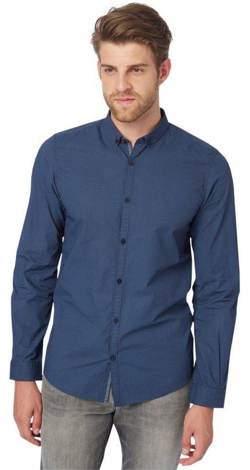 TOM TAILOR Hemd »gemustertes Button-Down-Hemd« in knitted navy