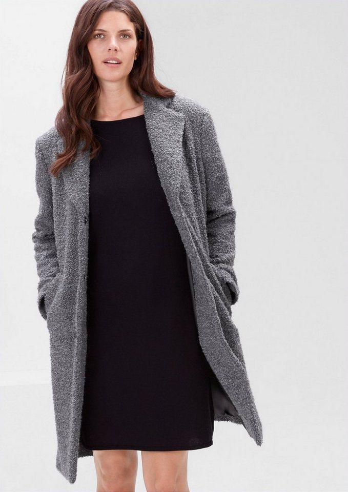 TRIANGLE Bouclé-Kurzmantel mit Alpaka in dark silk grey