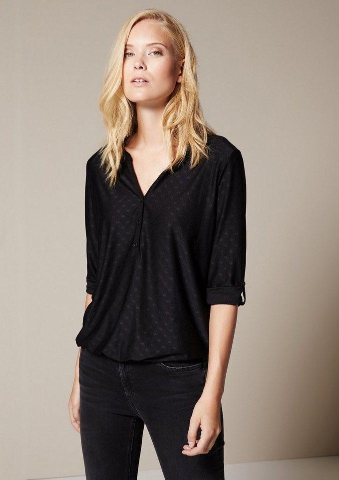 COMMA Legeres 3/4-Arm Jerseyshirt mit schönem Ton-in-Ton Muster in black