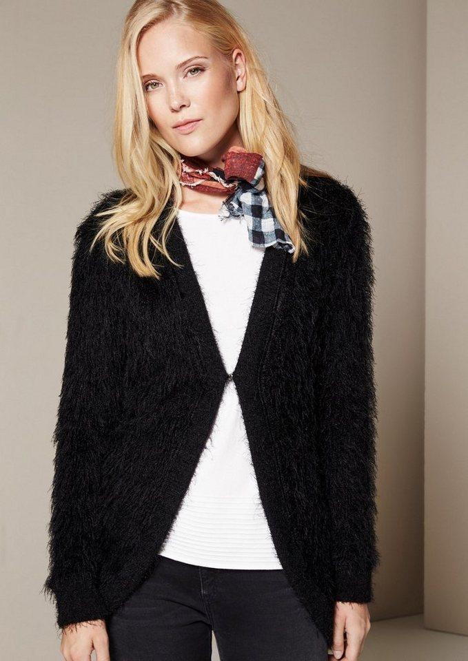 COMMA Glamouröser Strickcardigan aus flauschigen Langgarnen in black knit