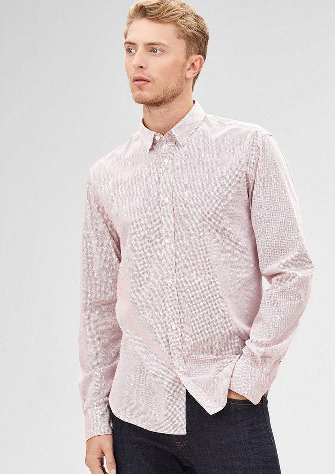 s.Oliver BLACK LABEL Modern Fit: Gepunktetes Hemd in white AOP