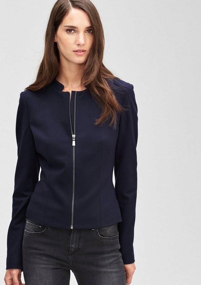s.Oliver BLACK LABEL Jersey-Blazer mit Zipp in midnight blue