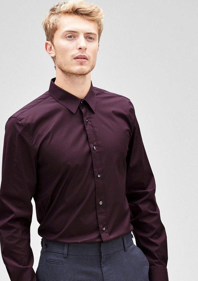 s.Oliver BLACK LABEL Slim: Stretch-Hemd mit Kontrastknöpfen in port royal