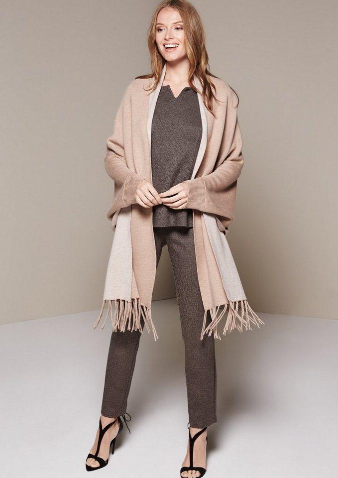COMMA Edle Businesspants mit dekorativem Heringbone-Muster in black knit