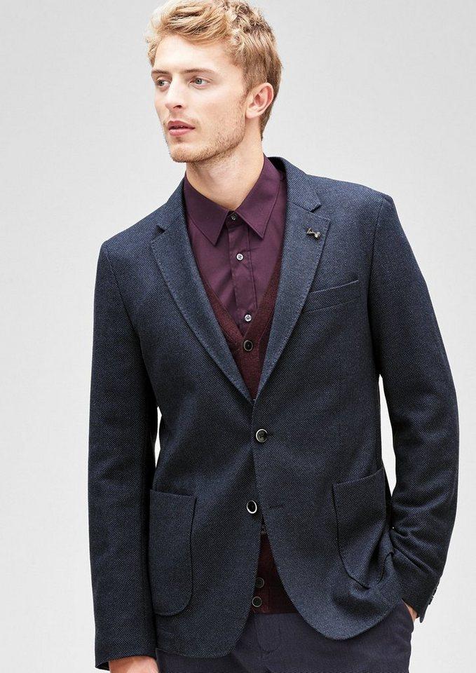 s.Oliver BLACK LABEL Modern Fit: Sakko aus Tweed in estate blue tweed