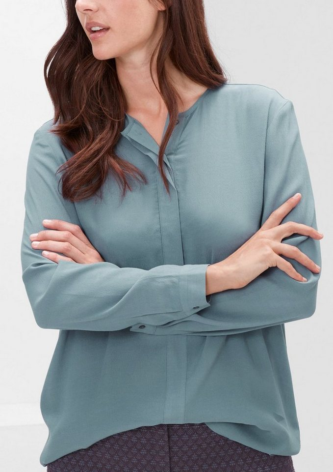 TRIANGLE Crêpe-Bluse mit Frontblende in frosty blue
