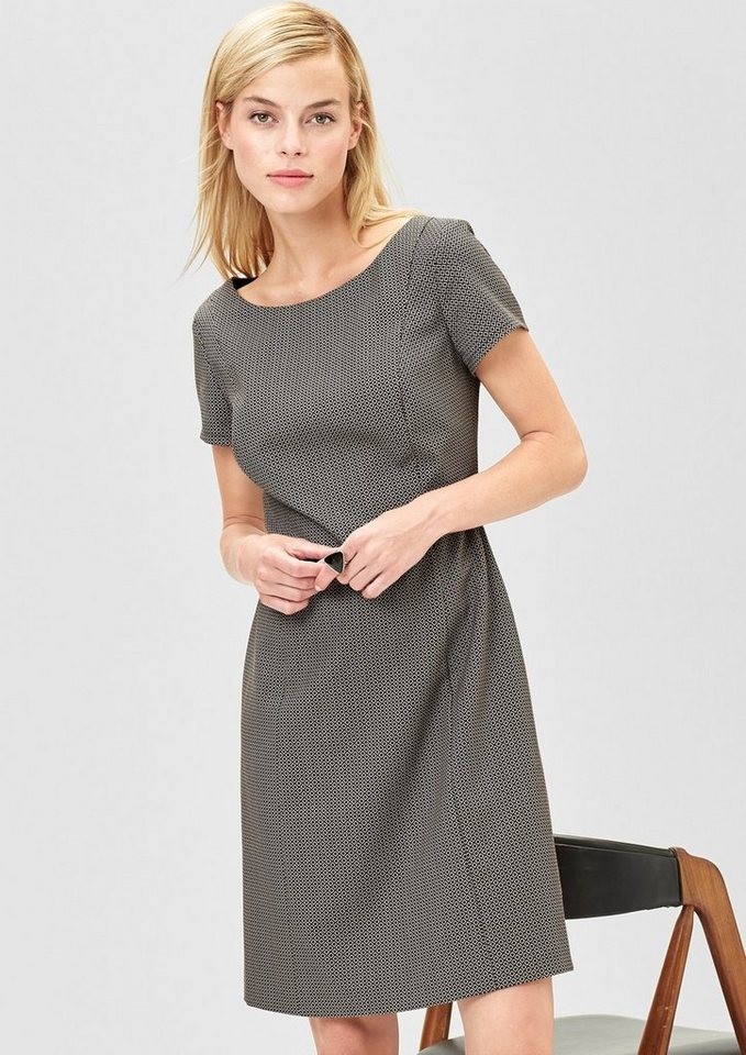 s.Oliver BLACK LABEL Jacquard-Kleid mit Gürtel in black