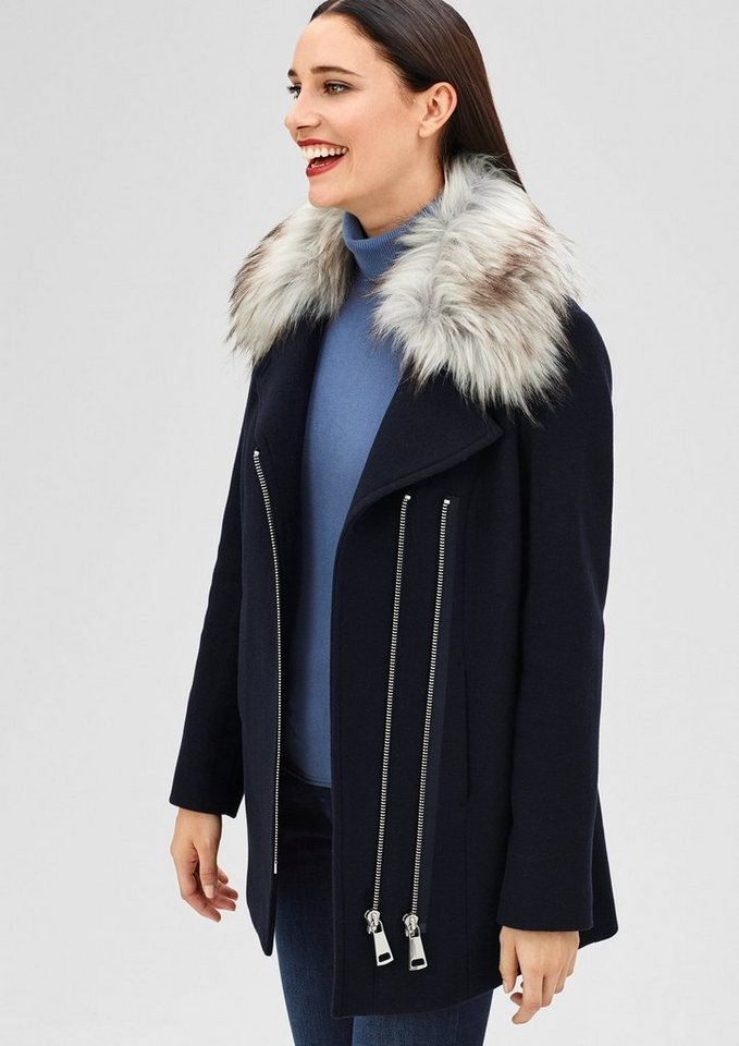 s.Oliver BLACK LABEL Wolljacke mit Fake Fur-Kragen in deep blue