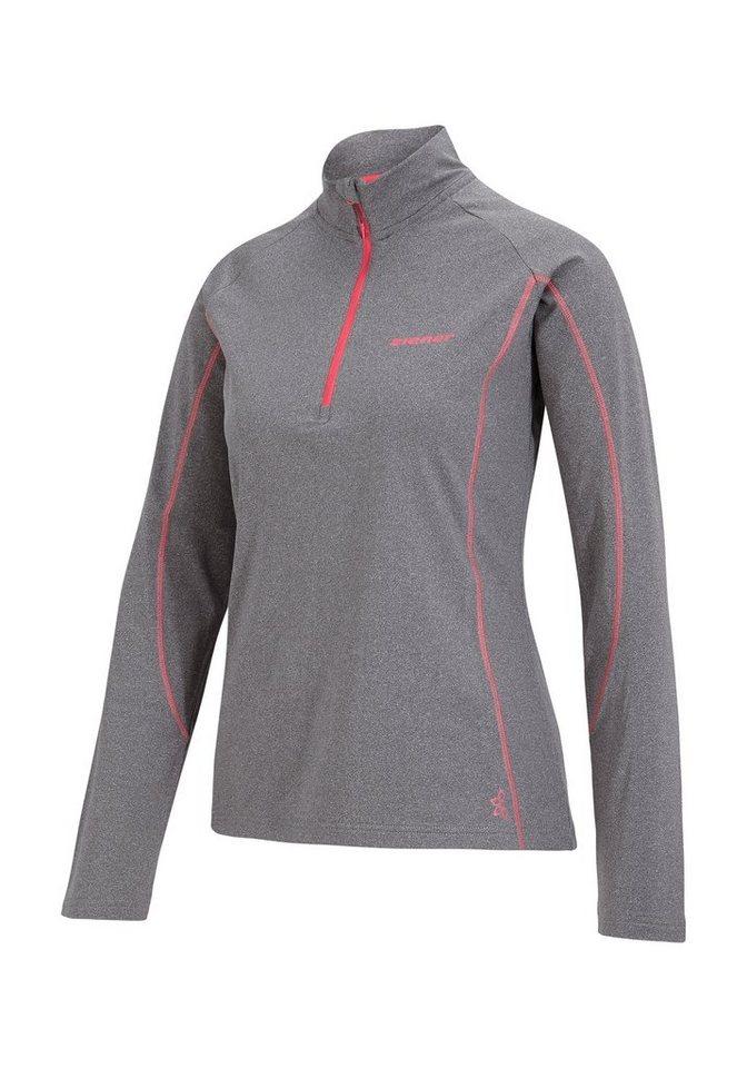 Ziener Unterzieher »JOSEFA lady (underlayer shirt)« in grey melange.pink orchid