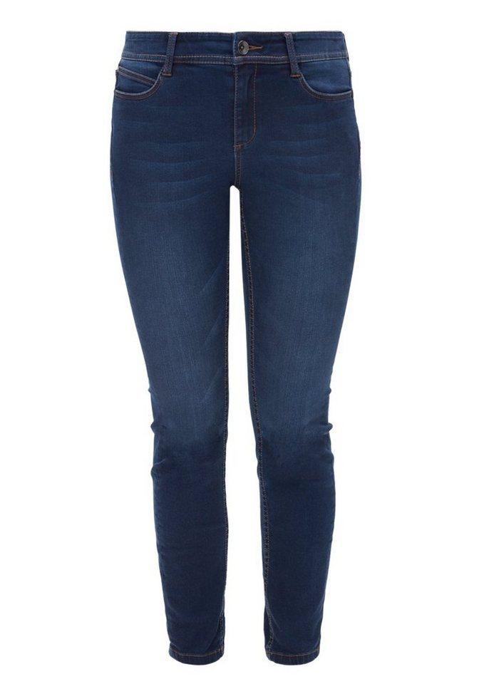 TRIANGLE Skinny: Stretchige Bluejeans in dark blue