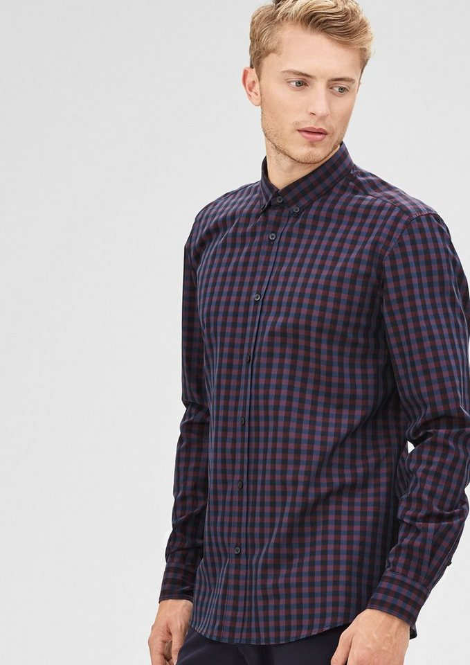 s.Oliver BLACK LABEL Modern Fit: Vichykaro-Hemd in dusty red check