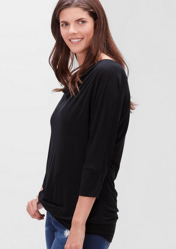 TRIANGLE Wasserfall-Shirt aus Viskose in black