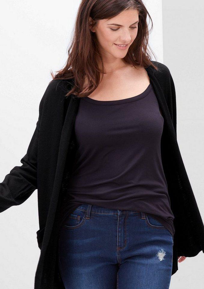 TRIANGLE Long-Cardigan mit Taschen in black