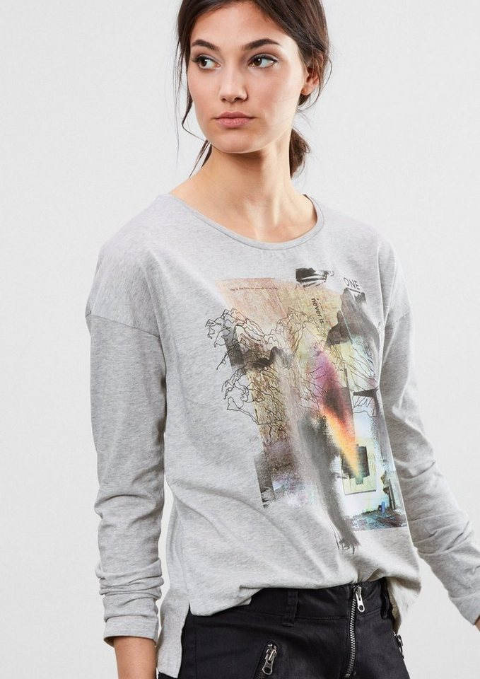 Q/S designed by Langarmshirt mit Foto-Print in concrete grey placed