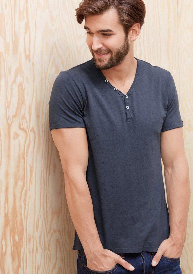 s.Oliver RED LABEL Melange-Shirt mit Knöpfen in tattoo blue melange