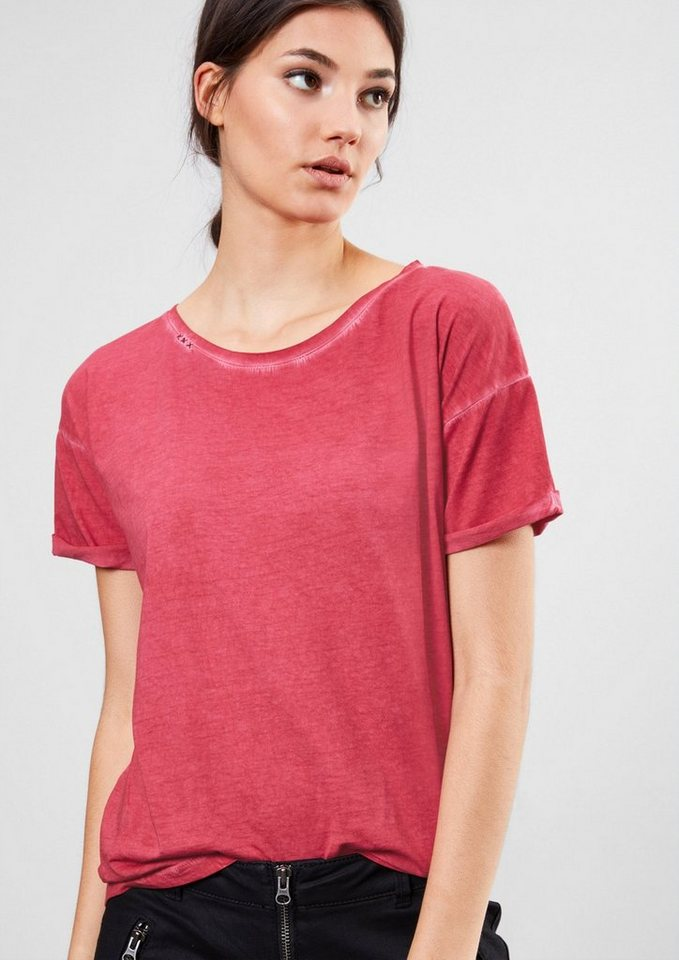 Q/S designed by Lässiges Garment Dye-Shirt in autumn red
