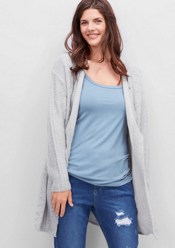 TRIANGLE Muster-Strickjacke mit Mohair in light grey