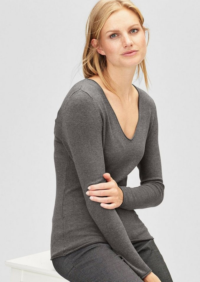 s.Oliver BLACK LABEL Schmaler Feinstrickpulli mit V-Neck in dark grey