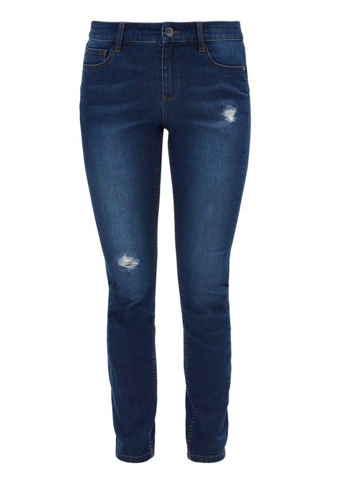TRIANGLE Skinny: Used-Jeans mit Destroyes in blue denim stretch