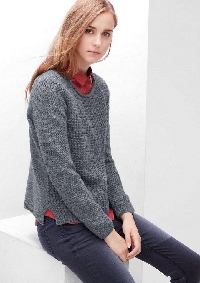 s.Oliver RED LABEL Pullover aus Musterstrick in pewter grey melange