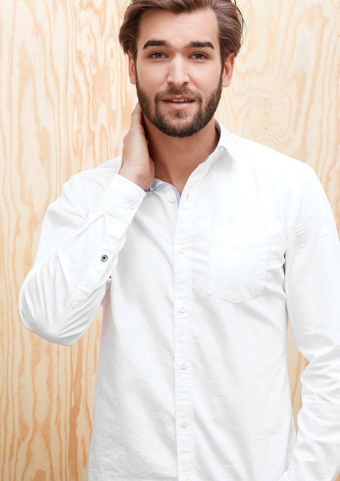 s.Oliver RED LABEL Slim: Klassisches Baumwollhemd in white