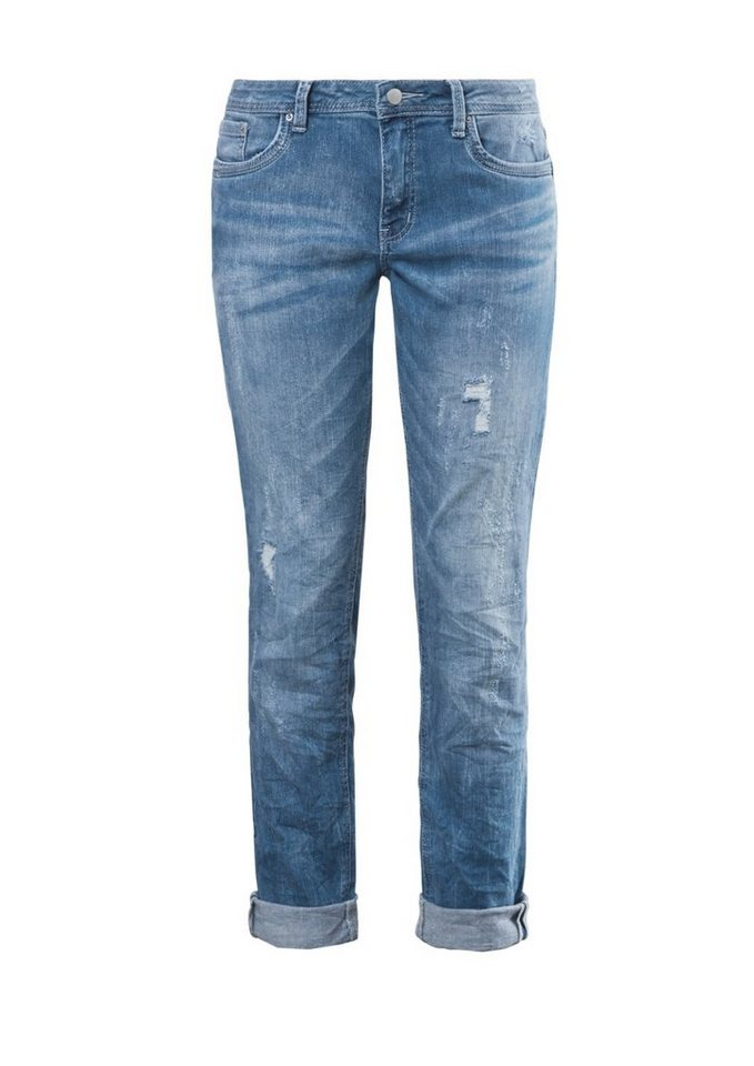 Q/S designed by Relaxed: Helle Destroyed-Jeans in blue denim, heavy st