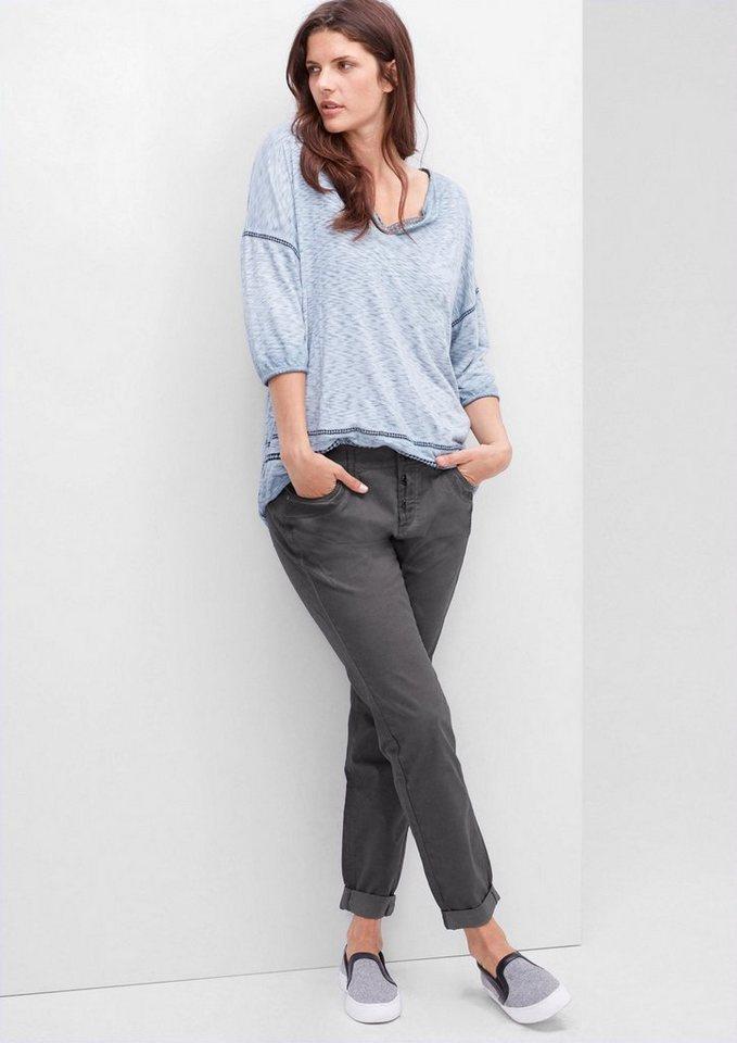 TRIANGLE Fancy Fit: Leichte Stretch-Hose in dark silk grey