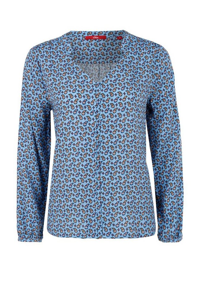 s.Oliver RED LABEL Tunikabluse mit Allover-Muster in smoky blue AOP