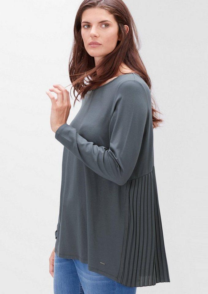 TRIANGLE Viskose-Shirt mit Plissée-Rücken in dark saphire