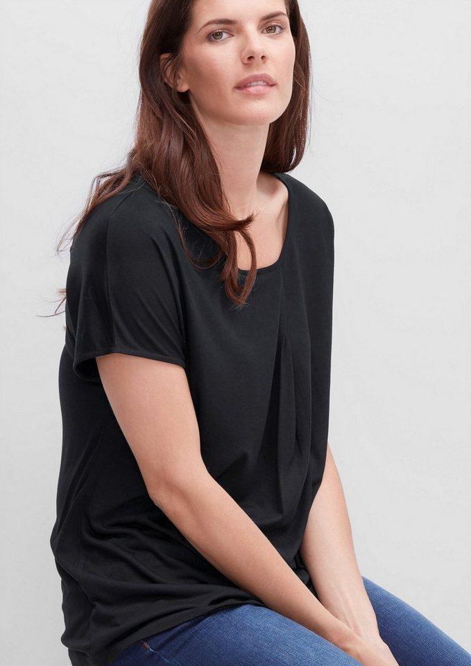 TRIANGLE Viskose-Shirt mit Falten-Detail in black
