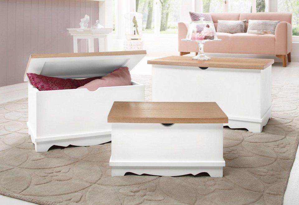 Home affaire Truhen, 3-teiliges Set in weiß/natur
