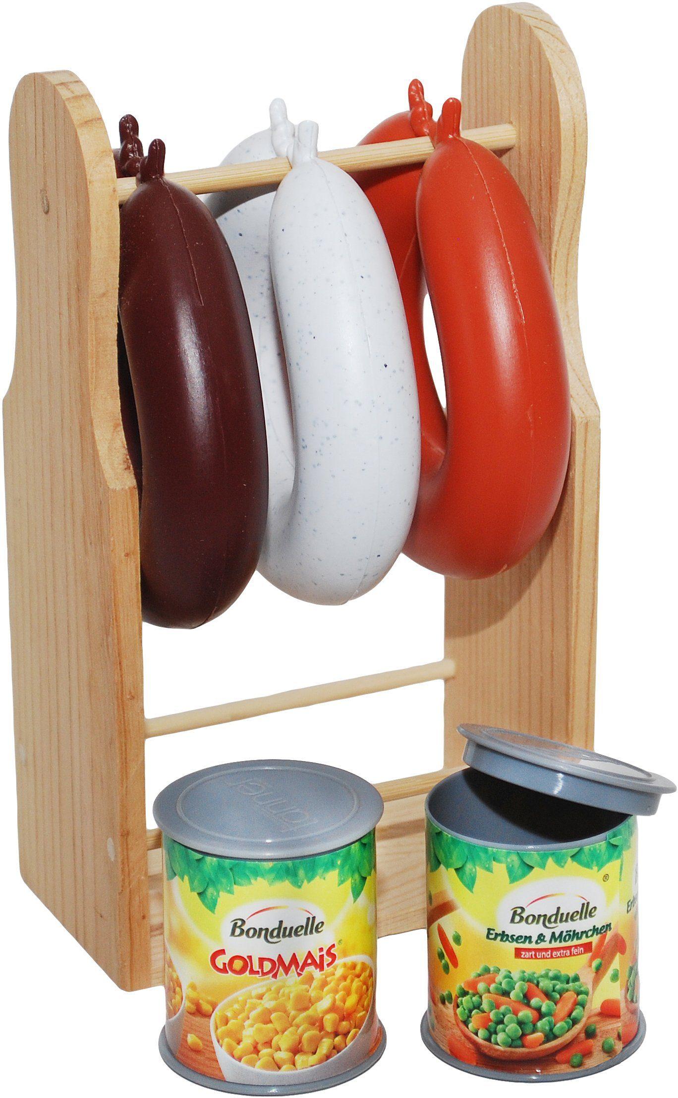 Tanner Spiellebensmittel, »Wurstständer, 3 Würste, 2 Gemüse Dosen«