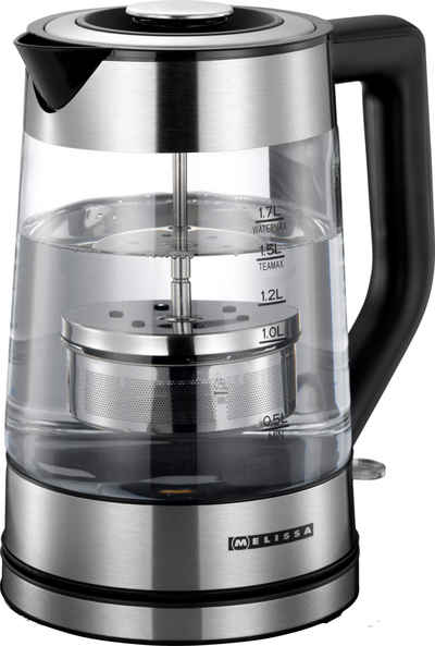 MELISSA Wasserkocher 16130302 Tee Glaswasserkocher 1,70 Liter Design Glas Wasserkocher mit Teefilter und Edelstahl-Applikation, 1.70 l, 2200 W