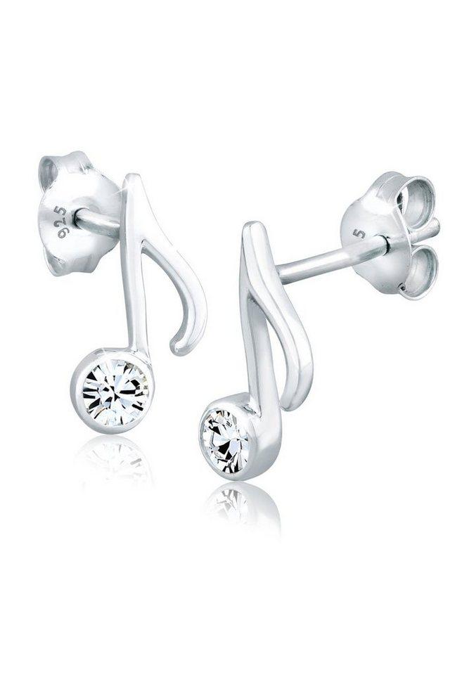 Elli Ohrringe »Ohrstecker Note Swarovski Kristalle« in Weiß