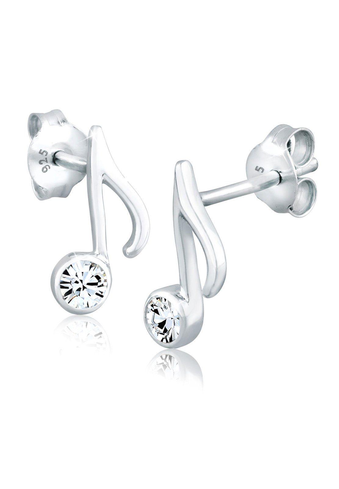 Elli Ohrringe »Note Musik Melodie Swarovski® Kristalle Silber«