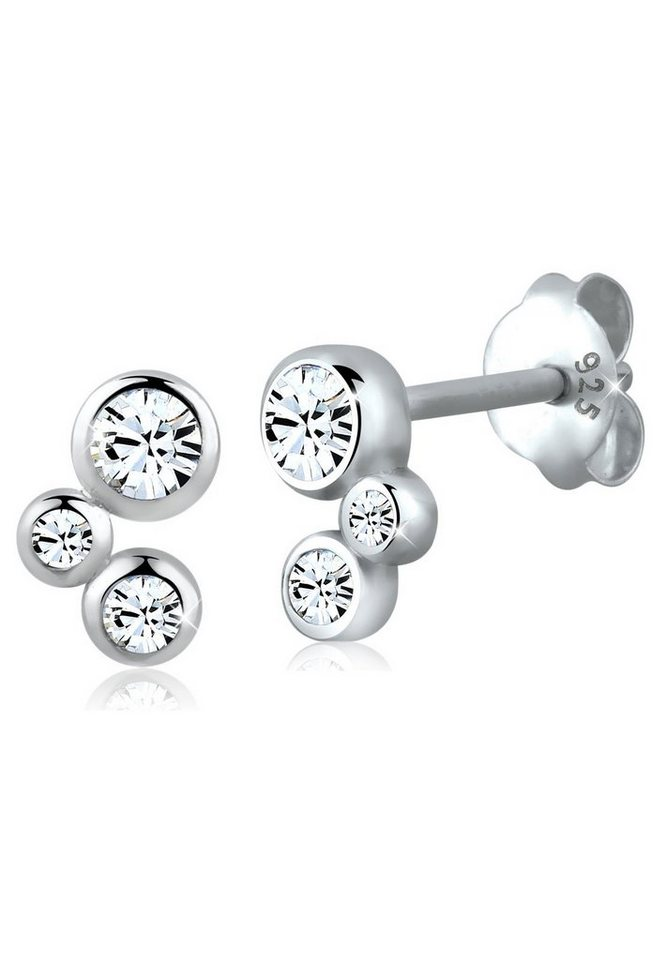 Elli Ohrringe »Basic Geo Swarovski® Kristalle Filigran 925 Silber« in Weiß