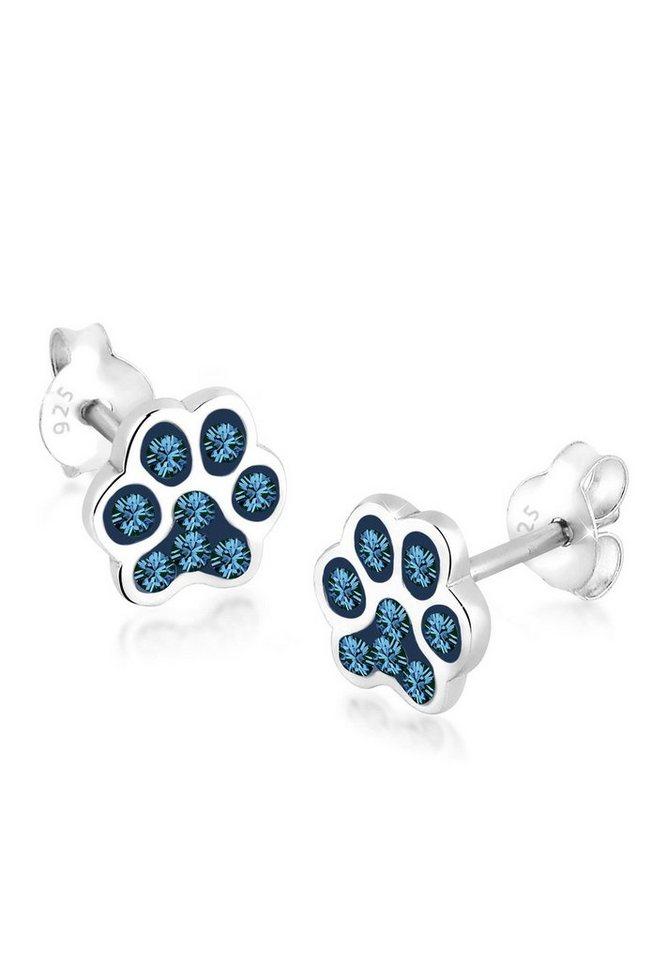 Elli Ohrringe »Katzenpfoten Pfote Swarovski® Kristalle Silber« in Blau